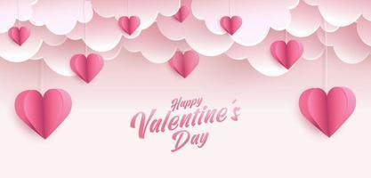 feliz dia dos namorados design de cartão. banner de férias com formas de coração de estilo de arte em papel. arte em papel e ilustração digital de artesanato vetor