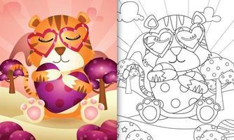 livro de colorir para crianças com um lindo tigre abraçando um coração para o dia dos namorados vetor