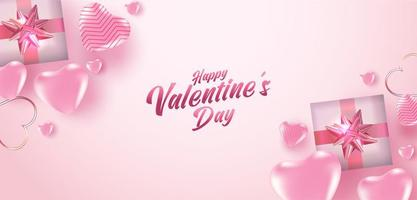 cartaz de venda do dia dos namorados ou banner com muitos corações doces e caixas de presente sobre fundo de cor rosa. promoção e modelo de compra ou para amor e dia dos namorados. vetor