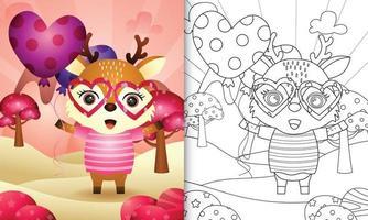 livro de colorir para crianças com um veado fofo segurando um balão para o dia dos namorados vetor