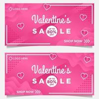 modelo de banner feliz dia dos namorados com fundo rosa vetor