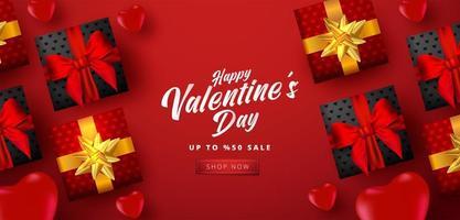 cartaz de venda do dia dos namorados ou banner com muitos corações doces e caixas de presente sobre fundo de cor vermelha. promoção e modelo de compra ou para amor e dia dos namorados. vetor