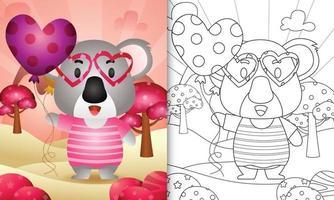 livro de colorir para crianças com um bonito coala segurando um balão para o dia dos namorados vetor