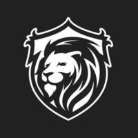 leão com mascote escudo vetor