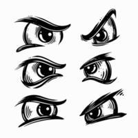 conjunto de ilustração vetorial de olhos zangados vetor