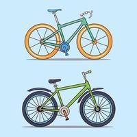 conjunto de duas bicicletas esportivas vetor