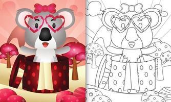 livro de colorir para crianças com um coala fofo na caixa de presente para o dia dos namorados vetor