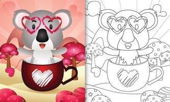 livro de colorir para crianças com um coala fofo na taça para o dia dos namorados vetor