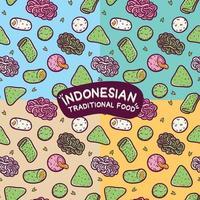 isolado padrão sem emenda de comida tradicional indonésia vetor