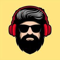 homem barbudo com mascote de fones de ouvido e óculos de sol
