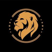 emblema circular cabeça de leão vetor