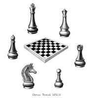 mão do tabuleiro de xadrez desenhando arte em preto e branco estilo vintage isolado no fundo branco vetor