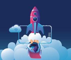 inicialização de negócios lançando produto com conceito de foguete. ilustração em vetor modelo e fundos, ideia de processo de inicialização de projeto empresarial por meio de planejamento e estratégia, gerenciamento de tempo
