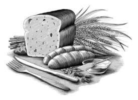 ilustração coleção de pão vintage estilo gravura arte em preto e branco isolado no fundo branco vetor