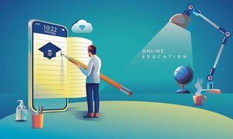 aprendizagem de aplicativos de educação online em todo o mundo no telefone, plano de fundo do site móvel conceito de distância social. o curso de treinamento em sala de aula, design plano de ilustração vetorial de biblioteca vetor