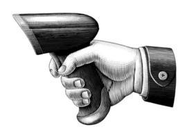 mão segurando o leitor de código de barras desenhando arte em preto e branco estilo vintage isolado no fundo branco vetor