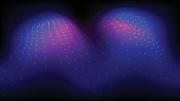 A imagem de fundo em tons escuros consiste em pontos brilhantes em ondas. vetor