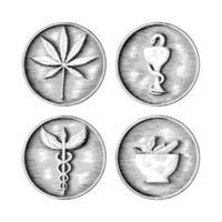 mão de símbolo médico, farmacêutico e de cannabis, desenho em arte preto e branco de estilo moeda, isolado no fundo branco vetor