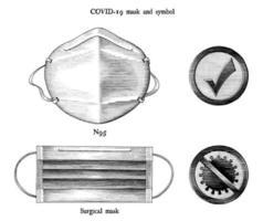 máscara para prevenir a doença coronavírus 2019 e símbolos relacionados gravura ilustração estilo vintage arte em preto e branco isolado no fundo branco vetor