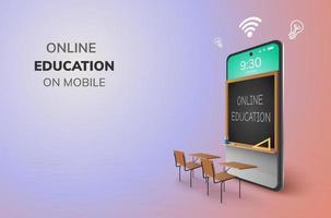 educação infantil on-line de sala de aula digital de volta ao conceito de escola Aprendendo no celular lousa criança crianças estudante mesa cadeira vetor