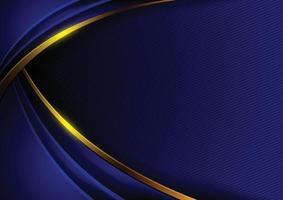 fundo abstrato em tons de azuis escuros com curvas douradas. vetor