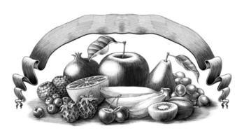 ilustração de frutas com banner estilo vintage gravura arte em preto e branco isolado no fundo branco vetor