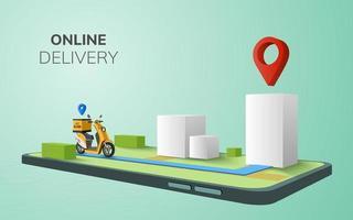 entrega on-line digital na scooter para o local com o conceito de plano de fundo do telefone móvel