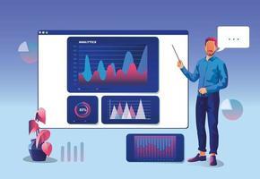 empresário de conceito de marketing está parado perto da tela da janela com dados analíticos. dados estatísticos com gráficos e diagramas. programação digital financeira. ilustração vetorial design plano. auditoria de marketing vetor