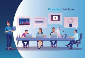 conceito de negócio, mídia social, aprendizagem, pessoas estão criando negócios na internet, análise e solução de problemas, promoção de negócios online, brainstorming juntos em trabalho em equipe vetor