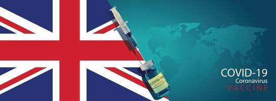 desenvolvimento de vacina pronta para ilustração de tratamento com bandeira do Reino Unido, design plano de vetor