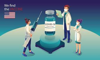 A equipe de cientistas americanos descobriu a vacina covid-19, teste de laboratório, seringa, um frasco de vacina, trabalhando no teste. desenvolvimento de vacina pronto para ilustração de tratamento, design plano de vetor