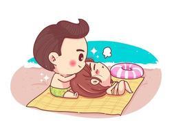 casal de personagens no conceito de férias de verão praia isolado no fundo branco.