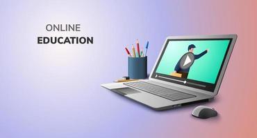 educação on-line de vídeo digital no laptop telefone celular conceito de distância social de fundo vetor