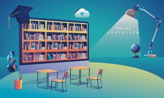aprendizagem de aplicativo de educação online em todo o mundo no computador, plano de fundo do site móvel. conceito de distância social com livros, palestra, lápis. o curso de treinamento em sala de aula, ilustração vetorial de biblioteca plana vetor