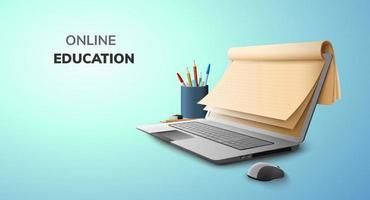 palestra digital espaço em branco de educação on-line, papel e chapéu de pós-graduação em plano de fundo do site do laptop. conceito de distância social vetor