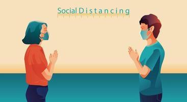 distanciamento social, as pessoas mantêm distância e evitam o contato físico, aperto de mão ou toque de mão para se proteger do conceito de disseminação do coronavírus covid-19, as pessoas estão usando a saudação da Tailândia de sawasdee