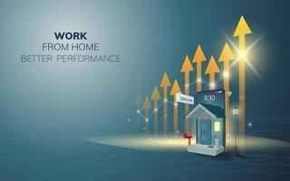 trabalho on-line digital de casa no telefone, plano de fundo do site móvel. conceito de desempenho de aumento de distância social