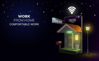 trabalho on-line digital do aplicativo doméstico no celular ou laptop do telefone no fundo da noite. conceito de distância social