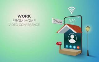 trabalho on-line digital de aplicação doméstica no fundo do site móvel do telefone. conceito de videochamada à distância social