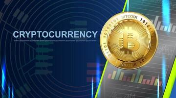 bitcoin cripto-moeda. banner de tecnologia de dinheiro digital de fundo azul com espaço de cópia. vetor