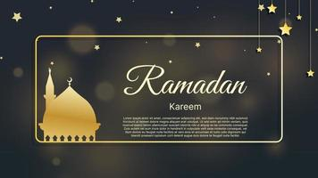 fundo islâmico ramadan kareem, eid mubarak com ilustração vetorial de luz bokeh