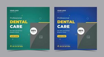 pôster sobre atendimento odontológico, postagem em mídia social odontológica e folheto vetor