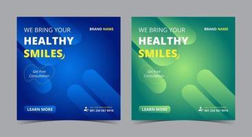 cartaz de sorriso saudável, publicação de mídia social odontológica e folheto vetor