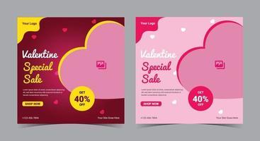 pôster de venda especial do dia dos namorados, postagem e folheto de mídia social do dia dos namorados