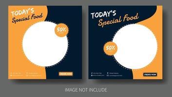 modelo de postagem de pacote de mídia social alimentar vetor