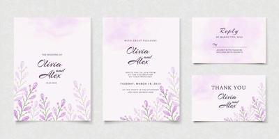 folhas roxas cartão de convite de casamento vetor