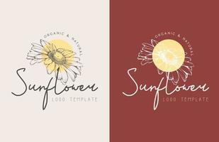 conjunto de logotipo floral desenhado à mão de girassol vetor