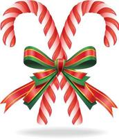 bastão de doces de Natal e fita. ilustração vetorial. vetor