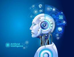 conceito de tecnologia digital de inteligência artificial. robô com cérebro de holograma e análise de big data.