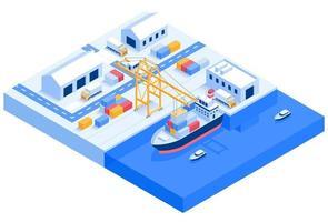 isométrica logística de transporte de navio de carga vetor